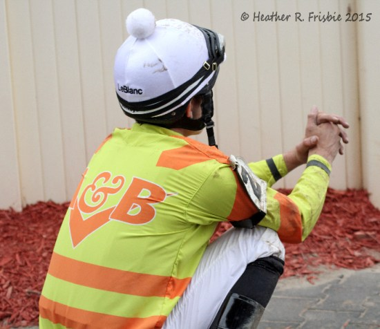 Jockey Denny Velazquez awaiting the results of the inquiry
