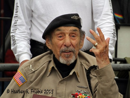 WWII veteran    leads the ceremony.