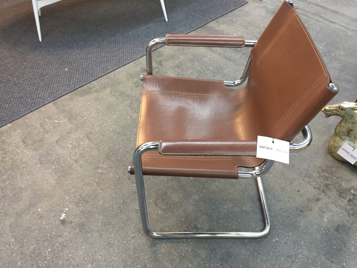 Italian 1970's leather and chrome chair