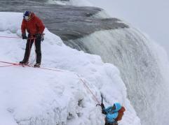 Will Gadd ice climbs the first ascent of Niagara Falls in Niagara Falls, NY, USA on 27 January, 2015.