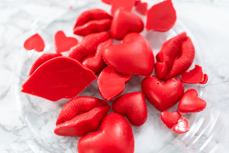 Chocolate lips and hearts