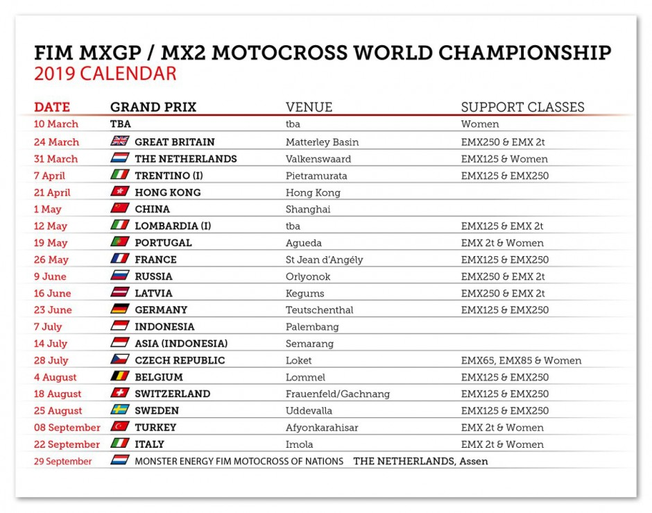 Calendario Mondiale Motocross.2019 Mxgp Fim Motocross World Championship Calendar Mxbars Net