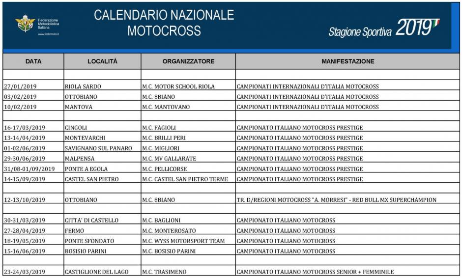 Calendario Mondiale Motocross.Calendari Dei Campionati Italiani Motocross 2019 Supermoto