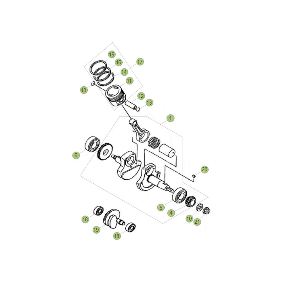 Beta RR125 14 Kurbelwelle/Kolben/Ausgleichswelle im