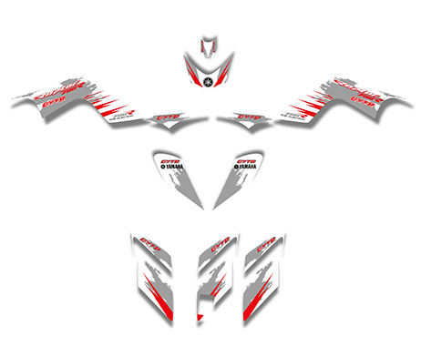 GRAPHICS DECALS Kit For YAMAHA RAPTOR 700 ATV (Red/Gray)