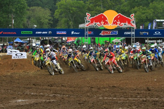 Tristan Pickens grabs the holeshot in Moto 1 of College Boy