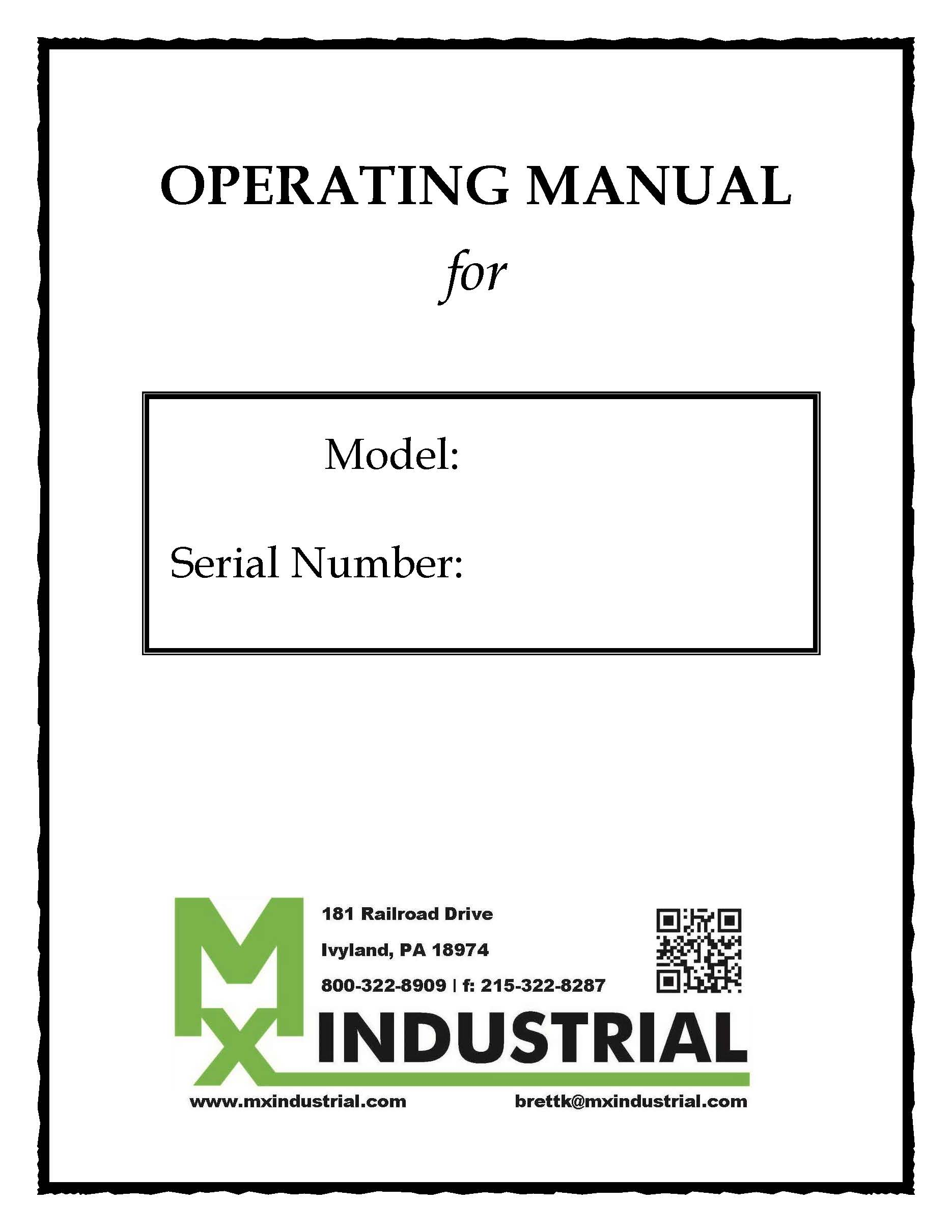 Equipment Manual – Hard Copy