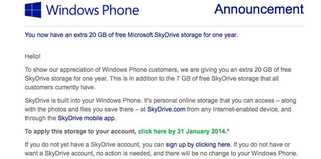 สาวก Windows Phone ได้พื้นที่ SkyDrive ฟรี 20GB ฟรี