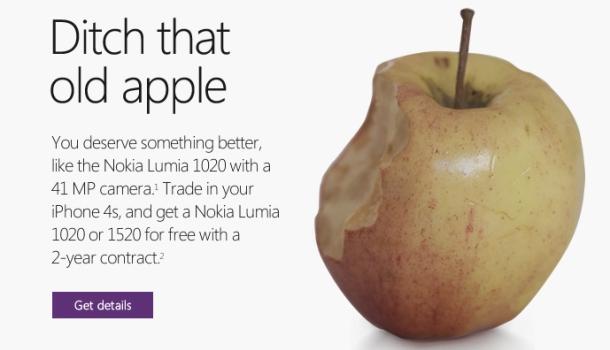 Microsoft ออกแคมเปญน์ โยนแอปเปิลลูกนั้นทิ้งซะ