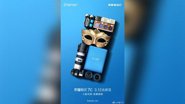 Honor 7C สมาร์ทโฟนกล้องคู่ จอ 5.99 นิ้ว พร้อมเปิดตัว 12 มี.ค.