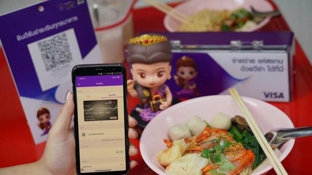 SCB ผนึกวีซ่าและชายสี่ กินบะหมี่ไม่มีเงินสดก็จ่ายได้ด้วย QR Code