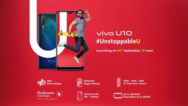 เผยสเปค vivo U10 สมาร์ทโฟนรุ่นกลางตัวใหม่ ก่อนเปิดตัวในเร็วๆนี้