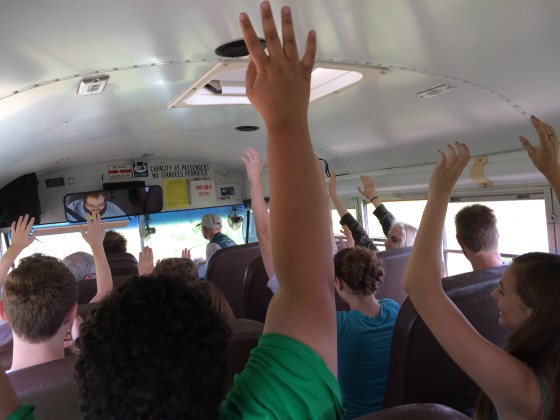 MXTW and NExT students enjoy the harrowing bus ride at the Konza Prairie.