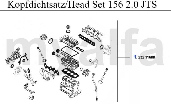 Alfa Romeo 156 Motordichtungen 2.0 JTS Kopfdichtsatz