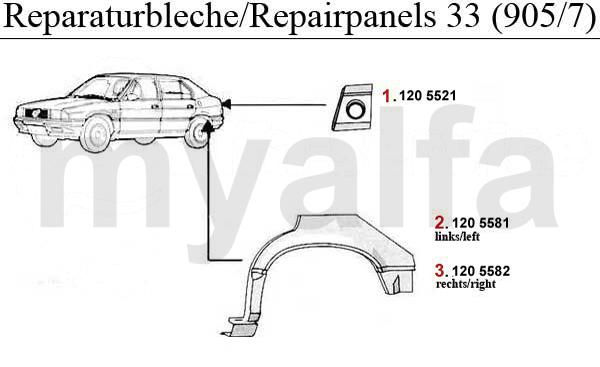 Alfa Romeo 33 (905/7) REPAIR PANELS 2