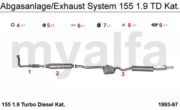 Alfa Romeo 155 Exhaust, Muffler, Silencer, Manifold