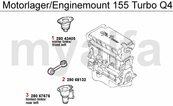 Alfa Romeo 155 ENGINEMOUNT Turbo Q4 16V