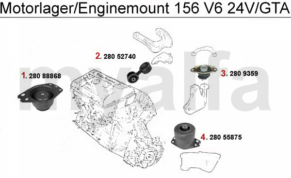 Alfa Romeo 156 ENGINEMOUNT 2.5/3.2 V6 24V/GTA