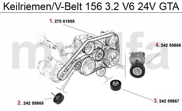 Alfa Romeo 156 V-BELTS 2.5/3.2 V6 24V/GTA