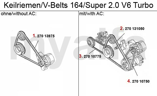 Alfa Romeo 164/SUPER V-BELTS 2.0 V6 Turbo