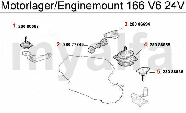 Alfa Romeo 166 ENGINEMOUNT 2.5/3.0/3.2 V6 24V