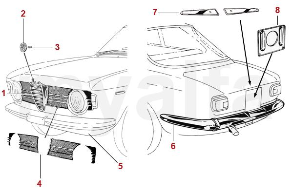 Alfa Romeo GT BERTONE CHROME PARTS 1965-68 SPRINT GTV