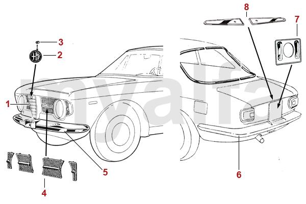 Alfa Romeo GT BERTONE CHROME PARTS 1966-69 GT JUNIOR