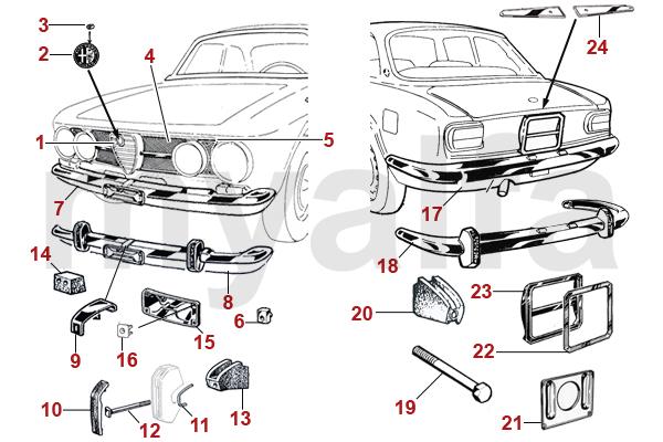 Alfa Romeo GT BERTONE CHROME PARTS 1967-73 1750 GTV