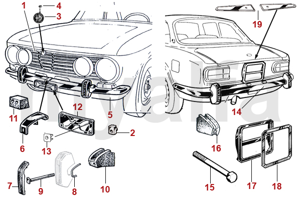 Alfa Romeo GT BERTONE CHROME PARTS 1971-76 2000 GTV