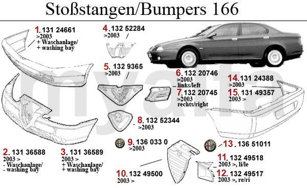 Alfa Romeo 166 Stoßstange/Kühlergrill/Zierleiste