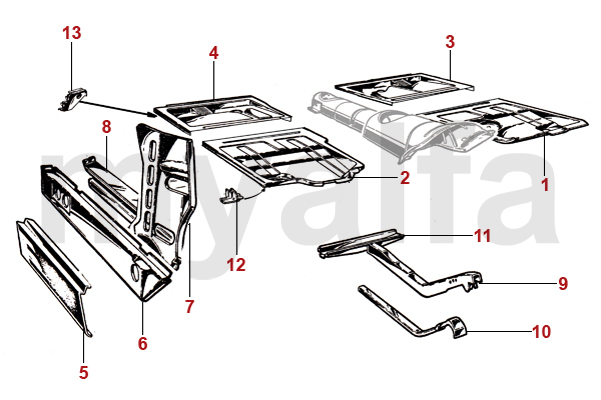 Alfa Romeo SPIDER (105/115) PANELS 1966-69 FLOORPANELS