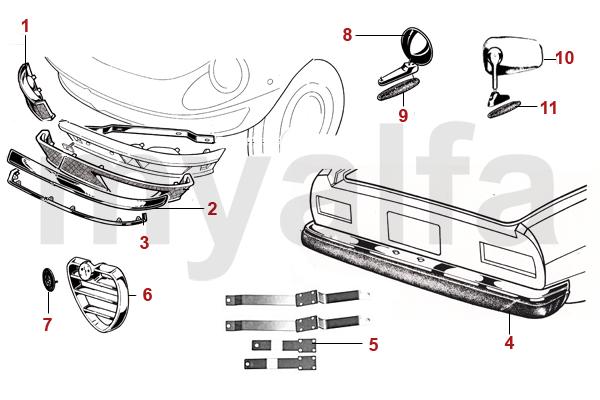 Alfa Romeo Spider (105/115) Chromteile Stoßstangen 70-82