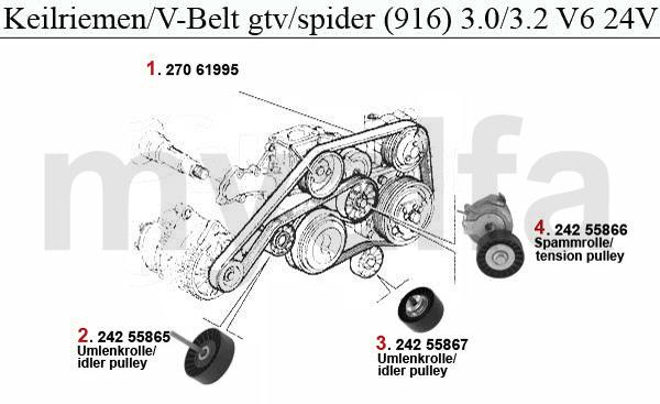 Alfa Romeo GTV/SPIDER (916) V-BELTS 3.0/3.2 V6 24V