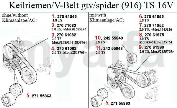 Alfa Romeo GTV/SPIDER (916) V-BELTS 1.8/2.0 TS