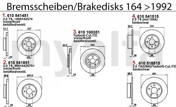 Alfa Romeo 164/SUPER BRAKE DISCS >1992