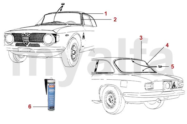 Alfa Romeo GT Bertone Verglasung Dichtungen vorne/hinten