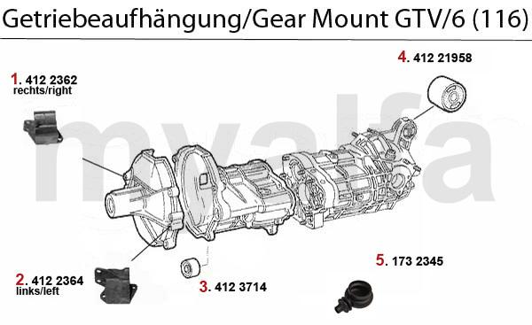 Alfa Romeo GT/V/6 (116) GEARBOX GEAR MOUNT GTV/6