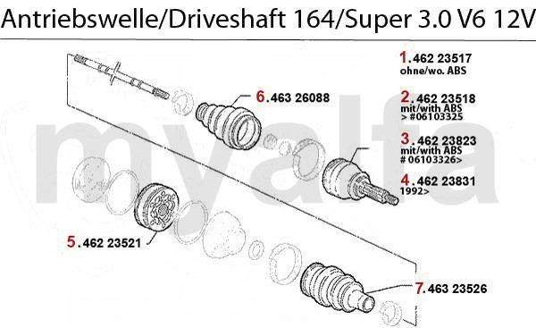 Alfa Romeo 164/SUPER DRIVESHAFT 3.0 V6 12V
