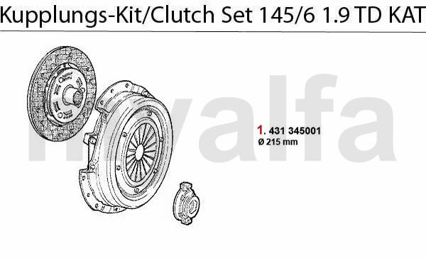 Alfa Romeo 145/6 CLUTCH CLUTCH SET 1.9 TD CAT.