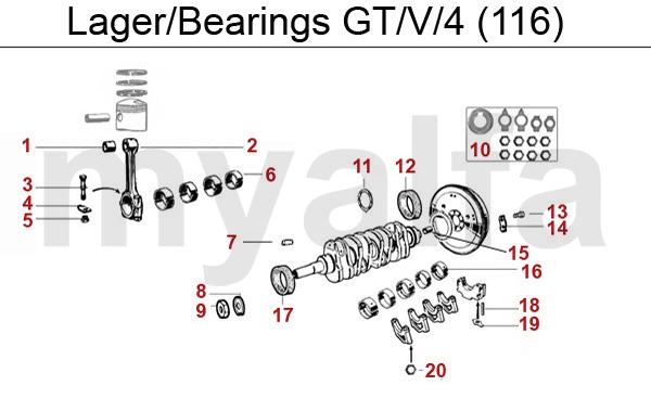 Alfa Romeo GT/V/6 (116) PISTONS/BEARINGS BEARINGS GTV/4