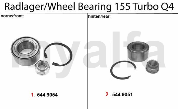 Alfa Romeo 155 WHEEL BEARING Turbo Q4 16V