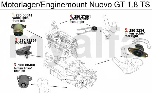 Alfa Romeo NUOVO GT Engine mount Engine, Engine Parts