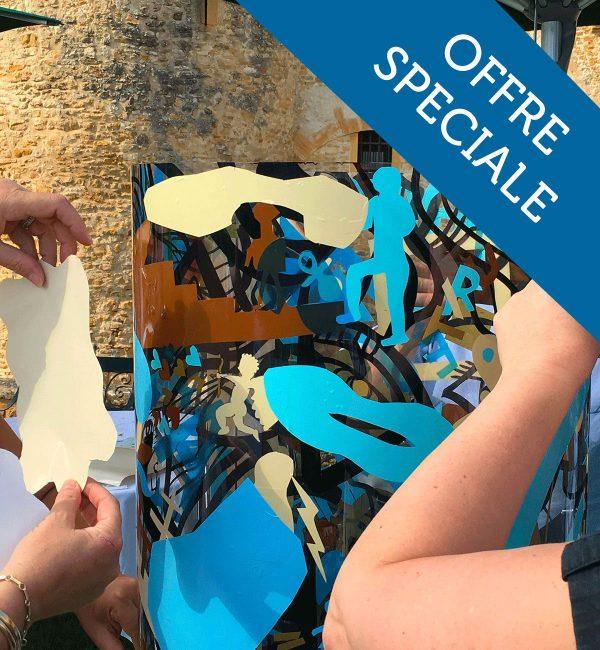 Atelier Créatif événement : Une animation avec un double avantage : les invités garde un souvenir personnel grâce à la silhouette découpé aux ciseaux mais aussi un souvenir commun partagé avec les autres convives grâce à la Totem Box Synergie