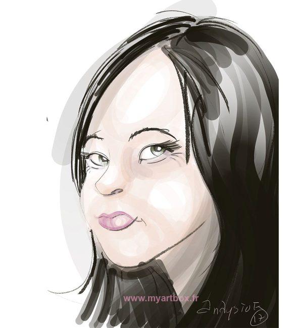 Caricature digitale d'une femme brune de profil