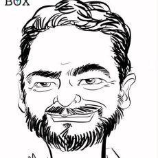 Caricature d'après photo d'un homme avec collier de barbe brune