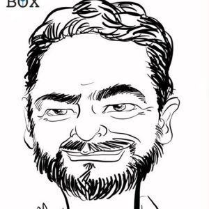 Caricature d après photo d'un homme avec collier de barbe brune
