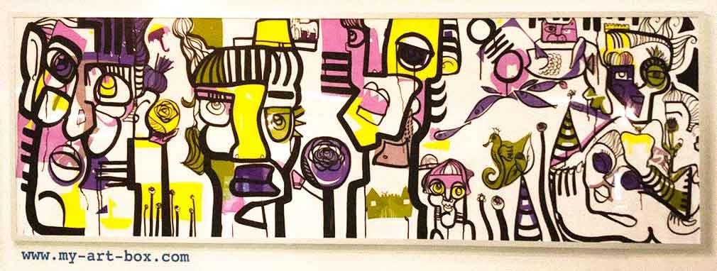 Tableau exposé encadré réalisé lors d'un Team Building Graffiti Ile de France par la street artiste aNa pour My Art Box