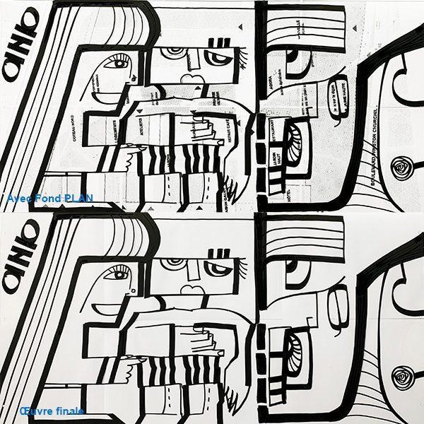 Dessin noir et blanc de l'artiste aNa qui montre son idée de Trophée original ou cadeau anniversaire sur mesure