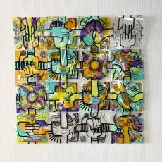 carrés de plexi assemblés en puzzle coloré fixés au mur idée animation post confinement