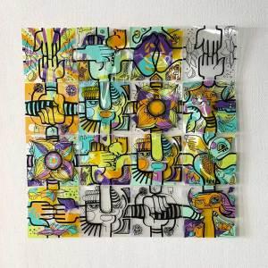 Animation TPE - carrés de plexi assemblés en puzzle coloré fixés au mur idée animation post confinement